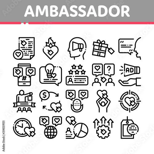 Ambassador Creative Collection Icons Set Vector Thin Line Wallpaper Mural