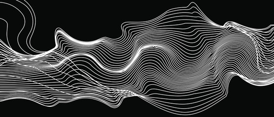moderne apstraktne valne linije na crnoj pozadini vektora