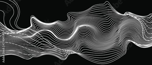 Obraz modern abstract wave lines on black background vector - fototapety do salonu