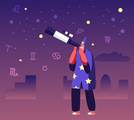Astrologer in Costume and Cap Watching on Moon and Stars through Telescope Studying Space. Astrology School, Cosmos Exploration, Scientific Investigation, Education Cartoon Flat Vector Illustration