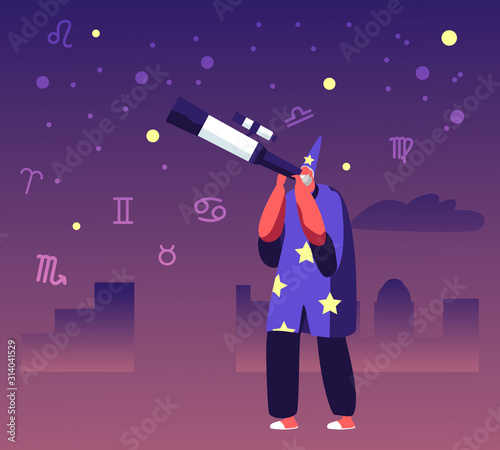 Photo Astrologer in Costume and Cap Watching on Moon and Stars through Telescope Studying Space
