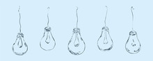 The Light Bulbs Are Drawn In A Minimalist Style In The Form Of Wires On A Bare Background For Interior, Design, Advertising, Ideas, Icons. Minimal Flat Concept.