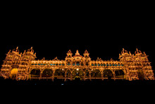 Mysore Palace Front View At Night With Lights