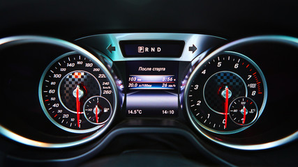 Modern car speedometer. Close up shot of the dashboard