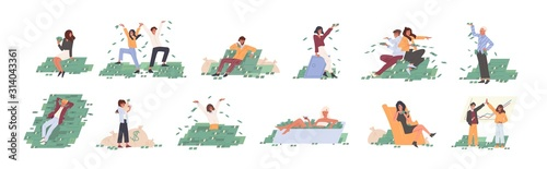 Fototapeta Rich people flat vector illustrations set. Financial success, lottery win, fortune, good luck concept. Men and women with money cartoon characters collection isolated on white background. obraz