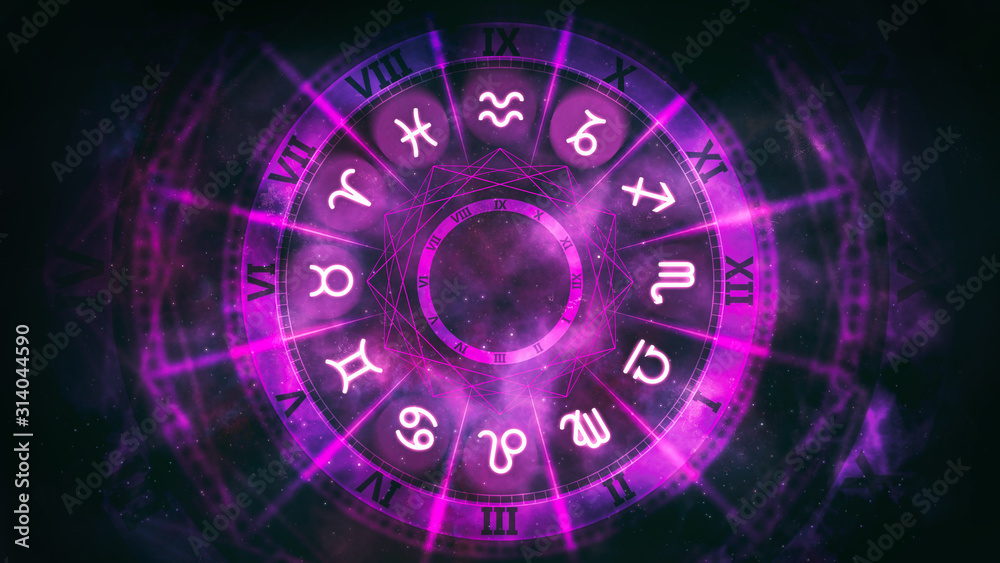 Fototapeta Purple astrological wheel with zodiac symbols and night starry sky. Horoscope background digital illustration.