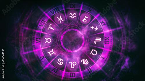 Obraz Purple astrological wheel with zodiac symbols and night starry sky. Horoscope background digital illustration. - fototapety do salonu