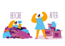 Before And After Sorting Things Concept.Minimalistic Lifestyle.A Woman Is Stuck In A Pile Of Unnecessary Clothes And Things And Wants To Sort Them.Three Boxes-donate,sale,trash.Conscious Consumption.