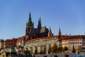 View of Prague Castle - Prague Castle, in a clear sunny weather. Here were the kings of Bohemia, Roman emperors, presidents of Czechoslovakia and the Czech Republic.