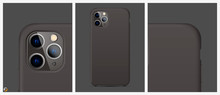 Black Realistic Silicone Phone Case. Mockup For Your Design Case Phone. Vector Illustration EPS10