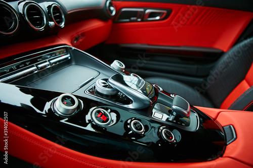 Fototapeta Detail of modern car interior, gear stick obraz