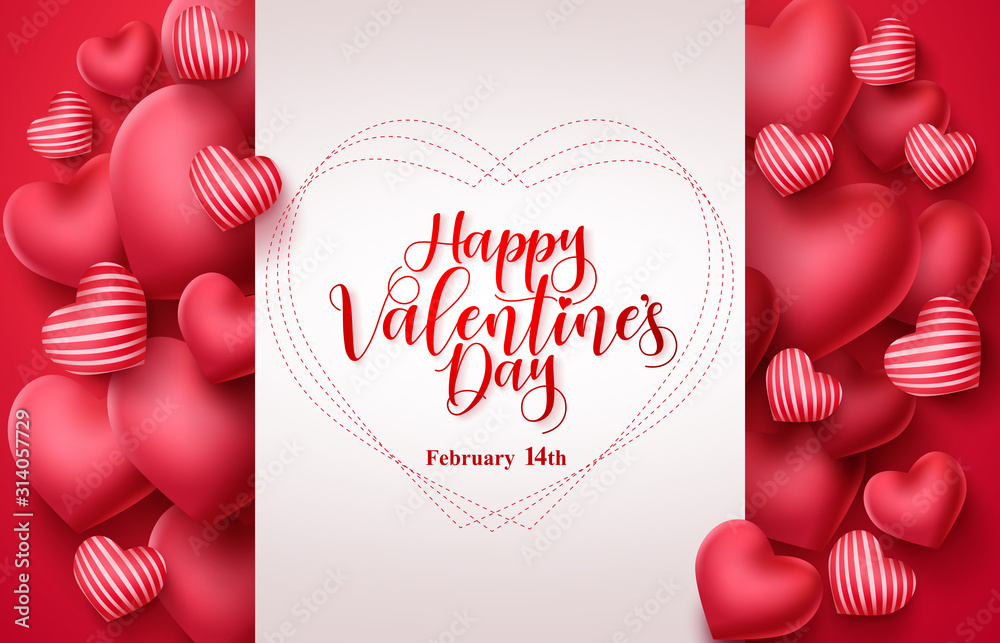 Fototapeta Valentines day vector greeting background. Happy valentines day greeting typography in white space for text with heart elements  background. Vector illustration.