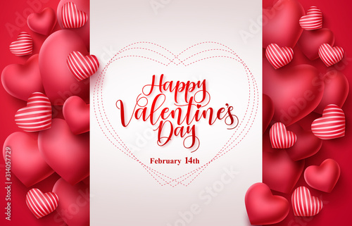 Obraz Valentines day vector greeting background. Happy valentines day greeting typography in white space for text with heart elements  background. Vector illustration. - fototapety do salonu