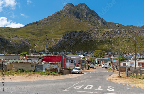 Valokuva .Kleinmond, Western Cape, South Africa. December 2019. Entrance to a township at