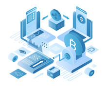 Cryptocurrency Exchange Platform Isometric Vector Illustration. Online Digital Service For Currency Holders. Blockchain Technology, Internet Banking. Global Trading Cartoon Conceptual Design Element
