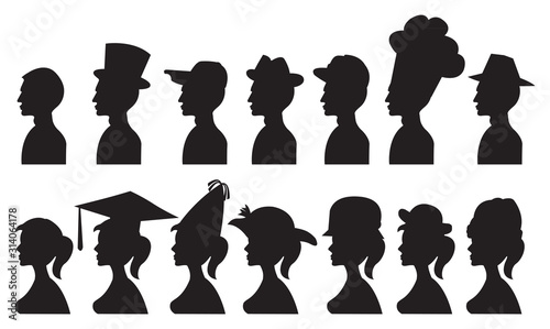 Photo Vector Illustration of People in Different Hats