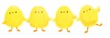 canvas print picture - collection of cute cartoon yellow chicks for Easter on white background