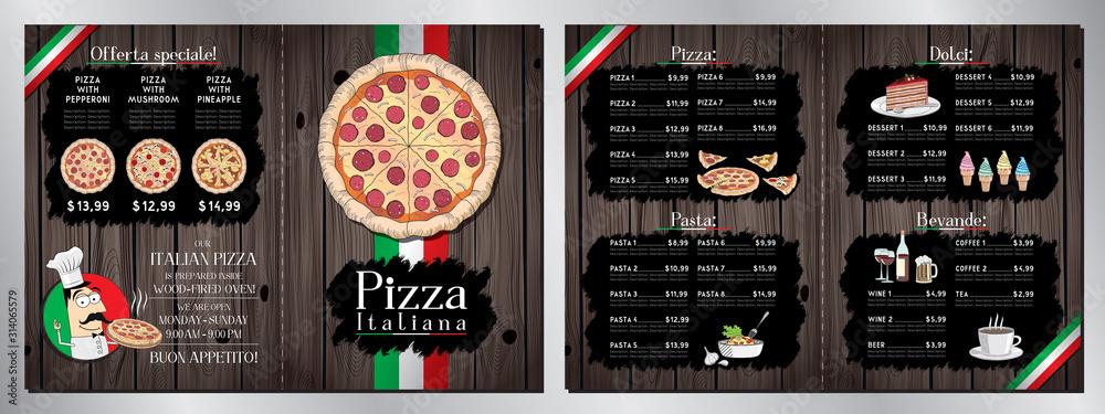 Fototapeta Italian pizza restaurant menu template - pizza, pasta, desserts, drinks - 2 x A4 (210x297 mm)