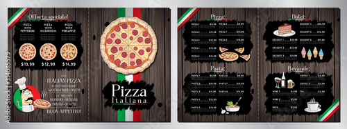 Obraz Italian pizza restaurant menu template - pizza, pasta, desserts, drinks - 2 x A4 (210x297 mm) - fototapety do salonu