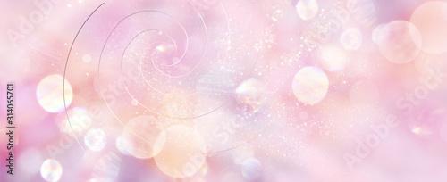 Foto Banner mit Goldenen Spiralen in sanftem rosefarbenem Licht