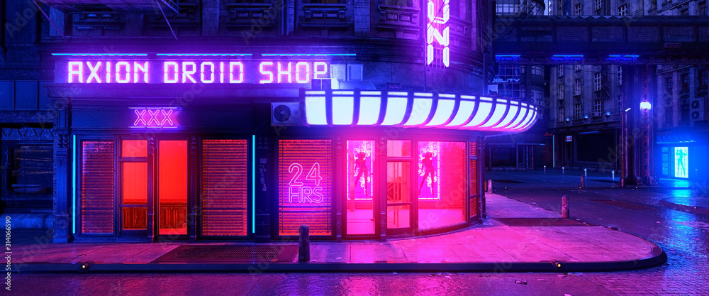 Fototapeta Colorful neon night in a futuristic city. Storefront with bright neon lights. Cityscape in the style of cyberpunk. 3D illustration. Beautiful urban wallpaper.