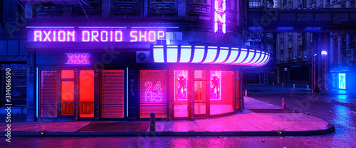 Fototapeta Colorful neon night in a futuristic city. Storefront with bright neon lights. Cityscape in the style of cyberpunk. 3D illustration. Beautiful urban wallpaper. obraz