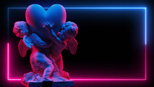 Sculpture Of Two Cubidons Hold A Big Heart In Neon Light On A Dark Background. Abstract Background For Love Theme. Double Exposure. Valentines Day Background