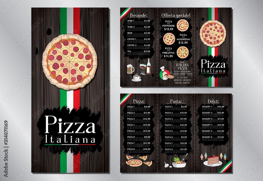 Fototapeta Italian pizza restaurant - menu/ flyer template - pizza, pasta, desserts, drinks - 3 x DL (99x210 mm)