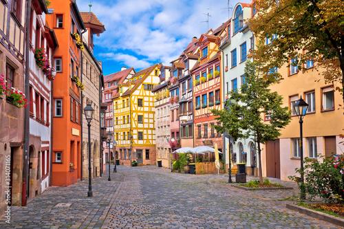 Obraz Nurnberg. Famous Weissgerbergasse historic street in Nuremberg old town view - fototapety do salonu