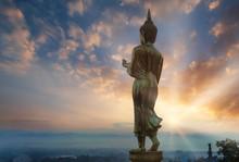 Big Golden Buddha Statue Standing In Wat Phra That Kao Noi At Nan Thailand