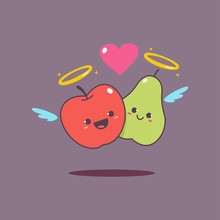 Funny Loving Couple Apple And Pear Vector Cartoon Character For Valentine's Day.