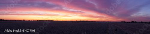 Sunrise Panorama Lincolnshire fens Fototapeta