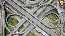 Aerial View Highway Traffic