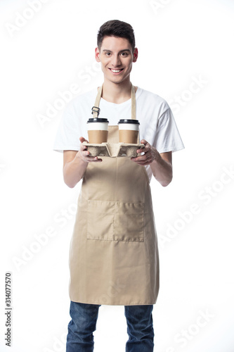 Papel de parede Barista holding a take out tray of disposable coffee cups