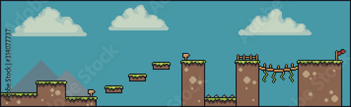 Fotografia, Obraz Pixel art 8bit 2D game scene, with clouds, grass, bridge, fence, board, flag