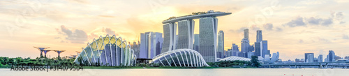 Panoramic skyscrapers from Singapore business district along Marina Bay East riv Wallpaper Mural