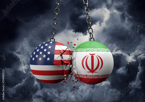 USA and Iran balls smashing together. Political conflict concept . 3D Rendering - 314080523