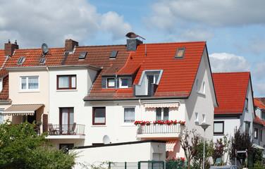 Häuserzeile, Reihenhäuser, Wohngebäude, Findorff, Bremen, deutschland