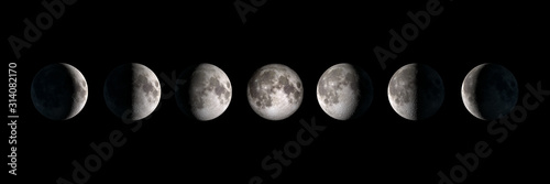 Moon phases, panoramic composite image Wallpaper Mural