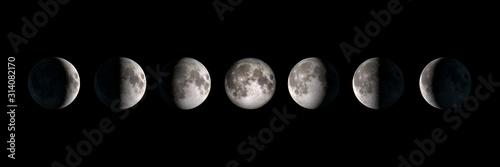 Carta da parati Moon phases, panoramic composite image