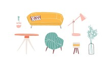 Furniture Pieces Hand Drawn Ve...