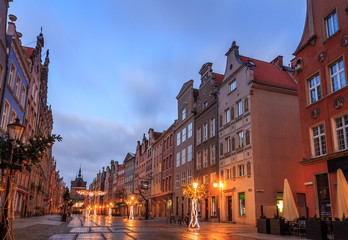 streets of the old city in gdansk in poland at sunrise