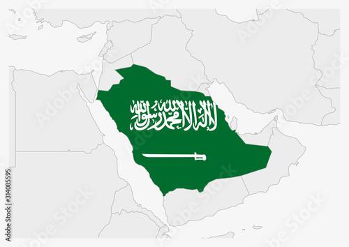 Photo Saudi Arabia map highlighted in Saudi Arabia flag colors