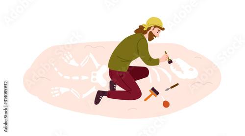 Photo Archeology, paleontology flat vector illustration