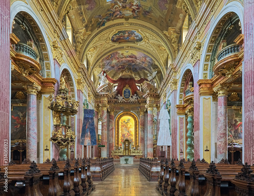 Fotografia, Obraz  Interior of Jesuit Church in Vienna, Austria