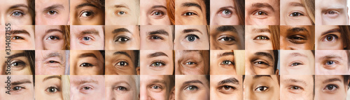 Fototapeta Collage of beautiful human eyes of different colors