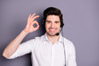 canvas print picture - Portrait of cool confident customer support worker have help line with clients excellent feedback show okay sign wear headset formal wear clothing isolated over grey color background