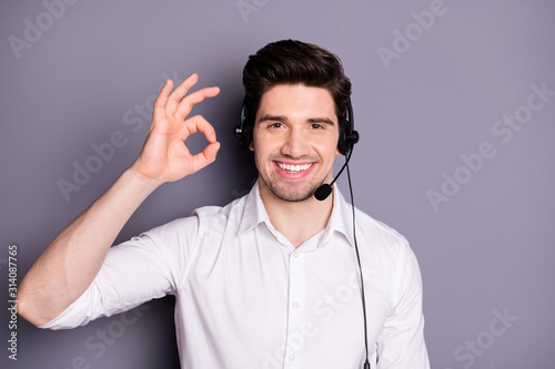 Photo Portrait of cool confident customer support worker have help line with clients e