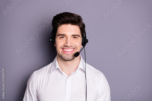 Stampa su Tela Portrait of confident cool positive call center worker can help with problems we