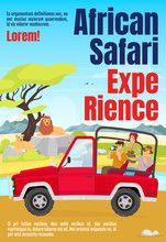 African Safari Experience Magazine Cover Template. Savannah Exploration. Journal Mockup Design. Vector Page Layout With Flat Character. Expedition Advertising Cartoon Illustration With Text Space